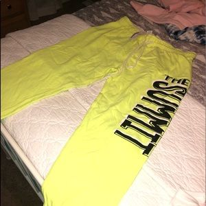 Pants - Neon yellow Capri sweat pants